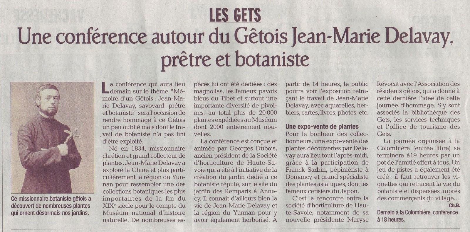Une conference autour du Getois Jean Marie Delavay